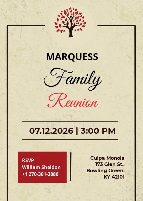 Free Vintage Family Reunion Invitation Template