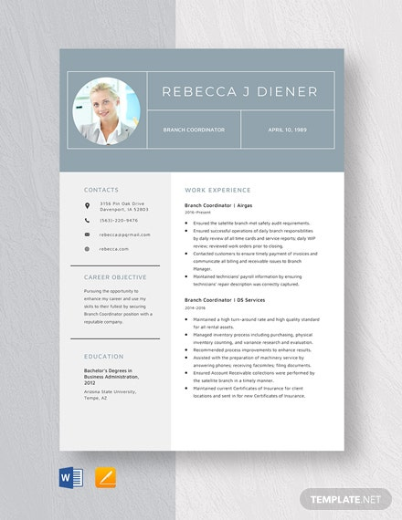Branch Coordinator Resume Template