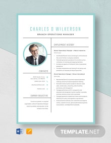 Branch Operations Manager Resume Template