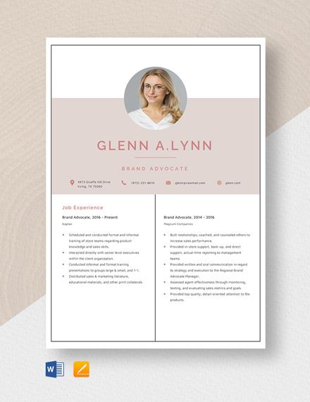 Brand Advocate Resume Template