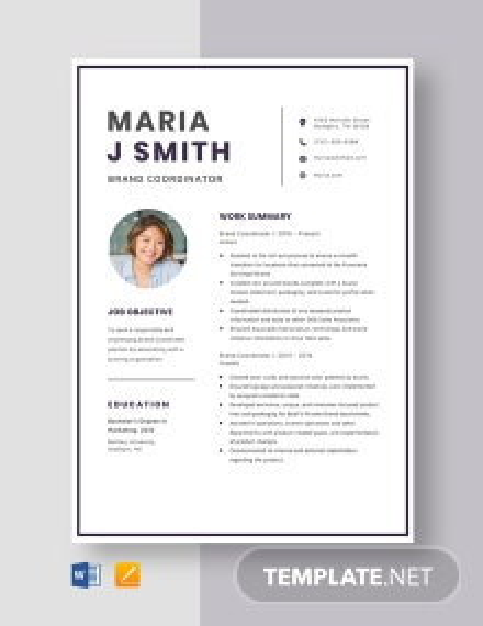 Brand Coordinator Resume Template