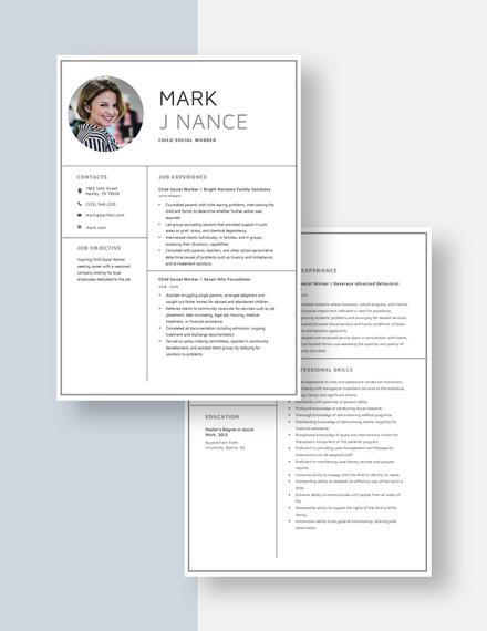Child Social Worker Resume Download
