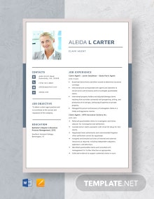 Claim Agent Resume Template