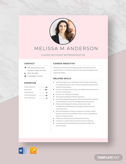 Claims Account Representative Resume Template