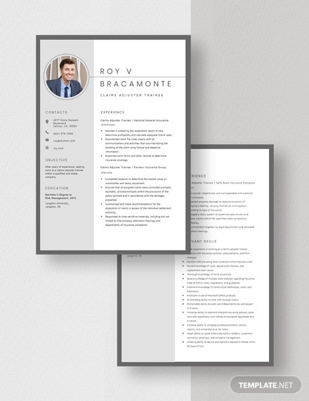 Claims Adjuster Trainee Resume Download