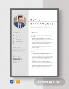 Claims Adjuster Trainee Resume Template