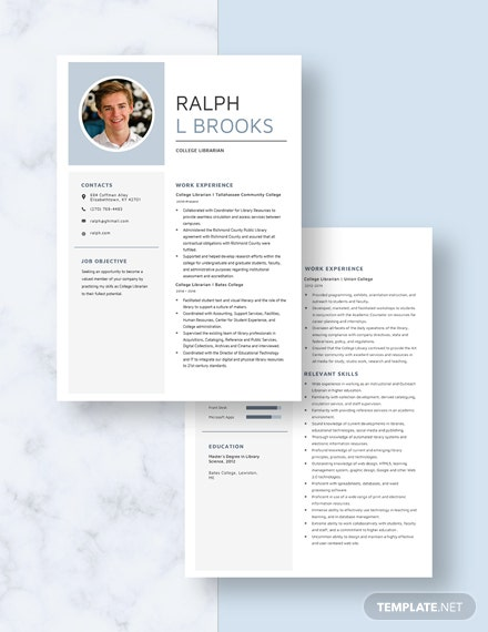 College Librarian Resume Download