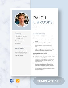 College Librarian Resume Template