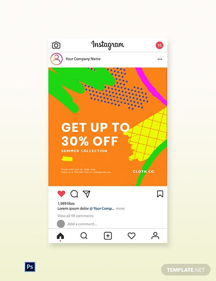 Free Modern Holiday Sale Instagram Post Template