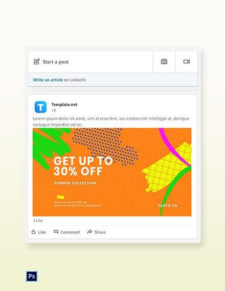 Free Modern Holiday Sale LinkedIn Blog Post Template