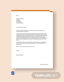 Free Application Letter for Hotel Receptionist
