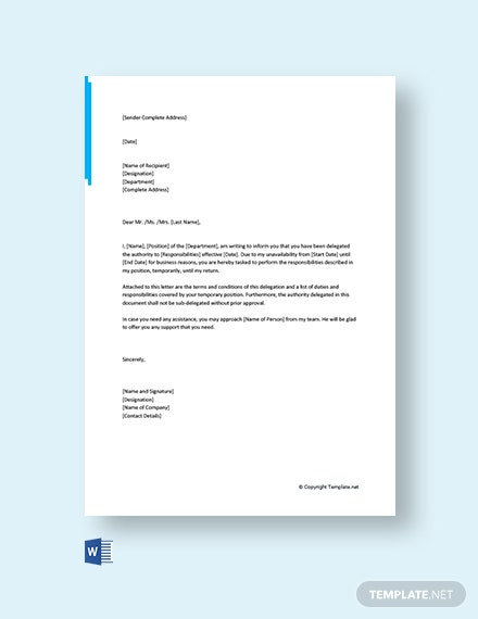 Free Authority Delegation Letter Template Word