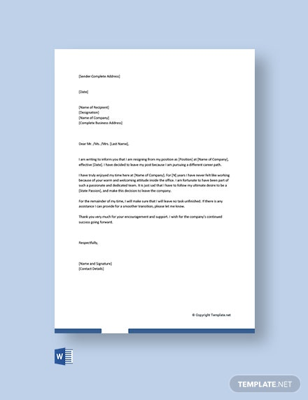 Free Casual Resignation Letter