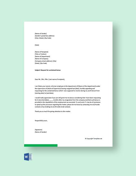 Free Bonus Request Letter to Previous Company