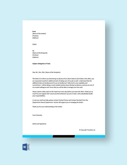 Free Delegation Letter