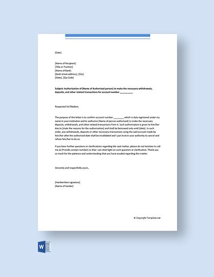 Free Delegation Letter for Bank