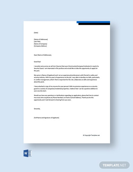 Free General Security Guard Cover Letter