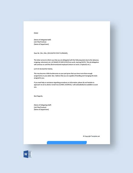 Free Job Delegation Letter