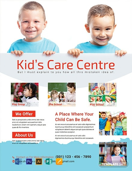 Free Kid's Care Center Flyer Template