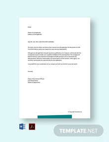 Free Job Interview Rejection Letter