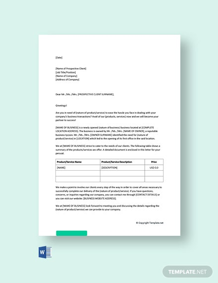 Free New Business Promotion Letter