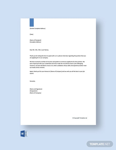 Phone Interview Rejection Letter