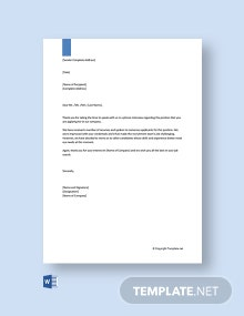Free Phone Interview Rejection Letter