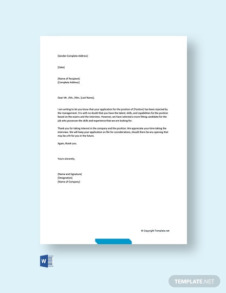 Free Rejection Letter After Interview