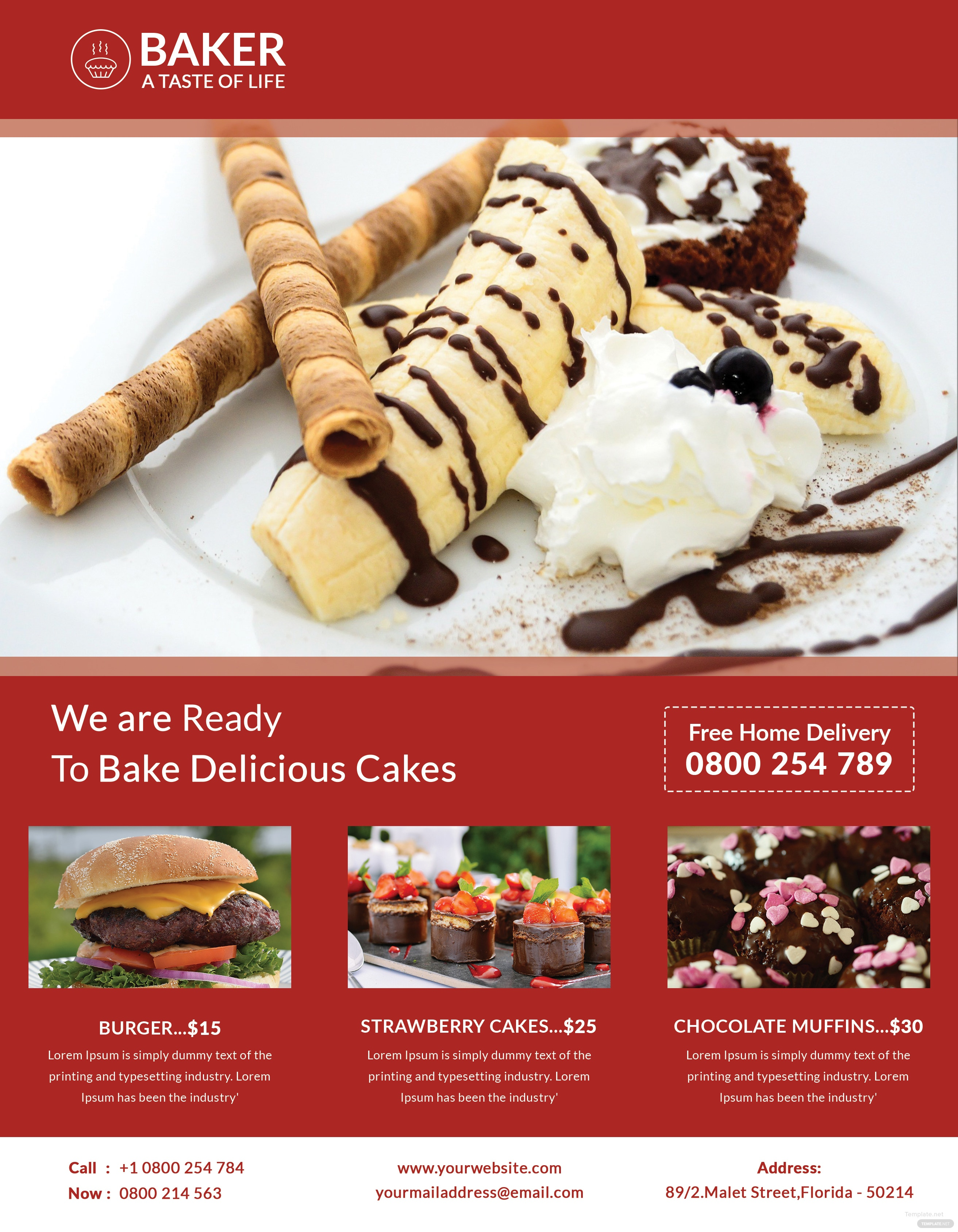 free bakery flyer template in adobe photoshop  illustrator