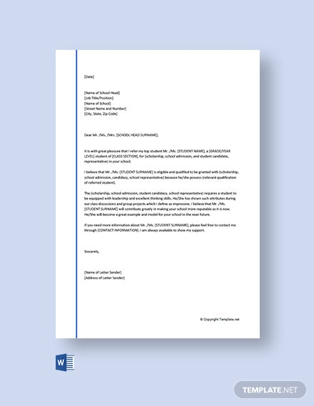 Free School Reference Letter
