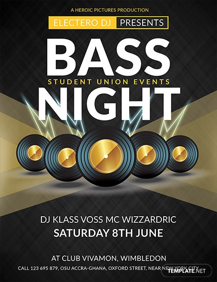 Free Bass Night Flyer Template