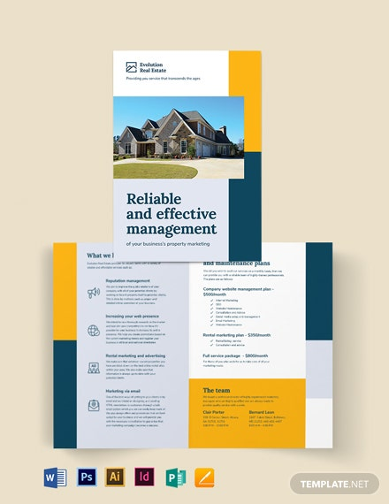 Property Management Marketing Bi-fold-Brochure Template