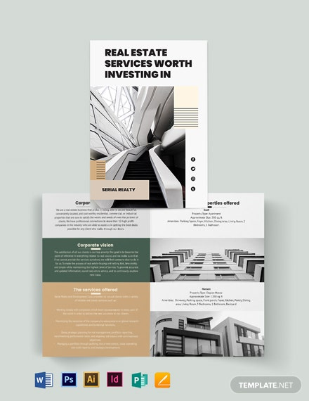 Professional Real Estate Company Bi-Fold Brochure Template