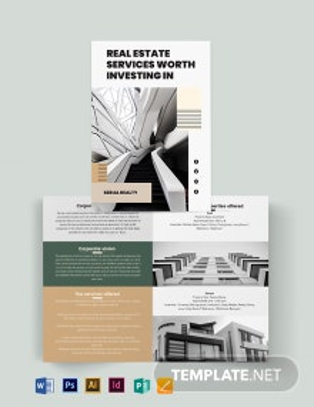 Professional Real Estate Company Bi-Fold Brochure Template