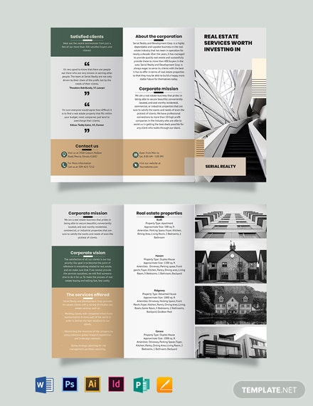 Professional Real Estate Company Tri-Fold Brochure Template