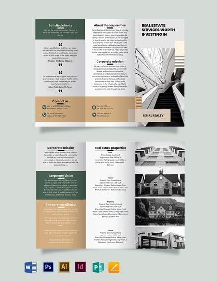 Professional Real Estate Company Tri-Fold Brochure Template