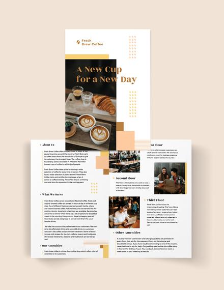 Coffee Shop Bi-Fold Brochure Template