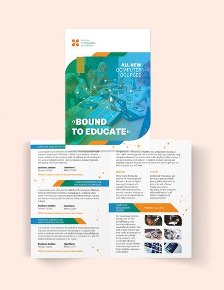 Computer Course Bi-Fold Brochure Template