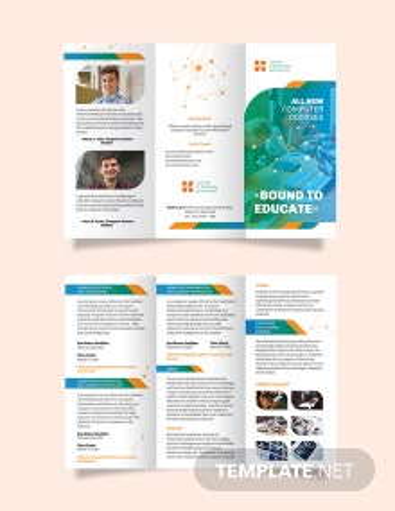 Computer Course Tri-Fold Brochure Template