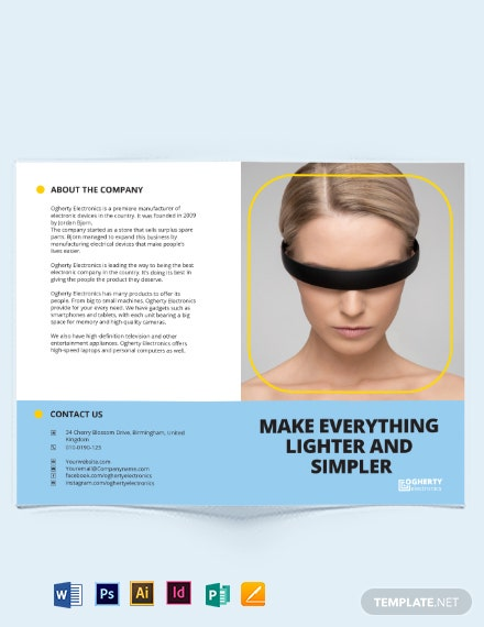 electronic product bi fold brochure
