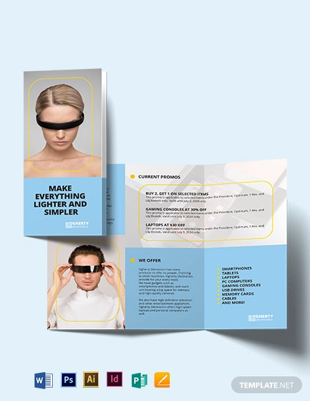 electronic product tri fold brochure