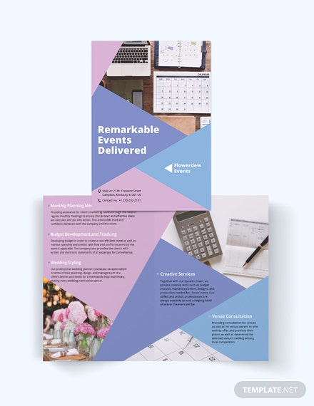 Event Planning Bi-Fold Brochure Template