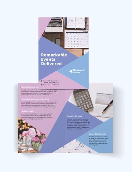 event planning bi fold brochure
