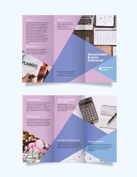 event planning tri fold brochure