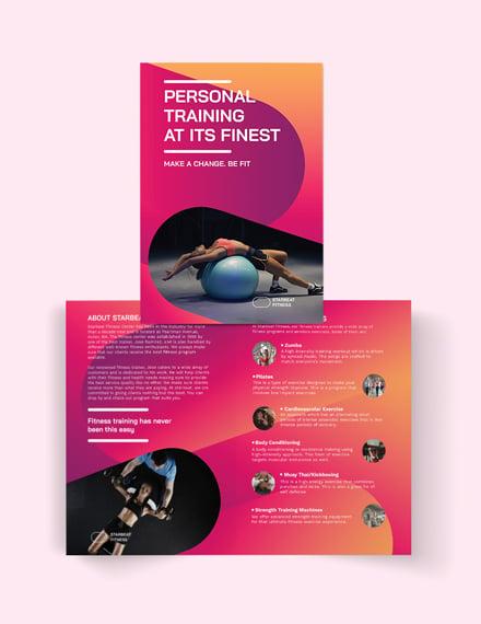 fitness trainer bi fold brochure