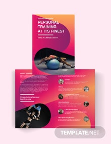 Fitness Trainer Bi-Fold Brochure Template