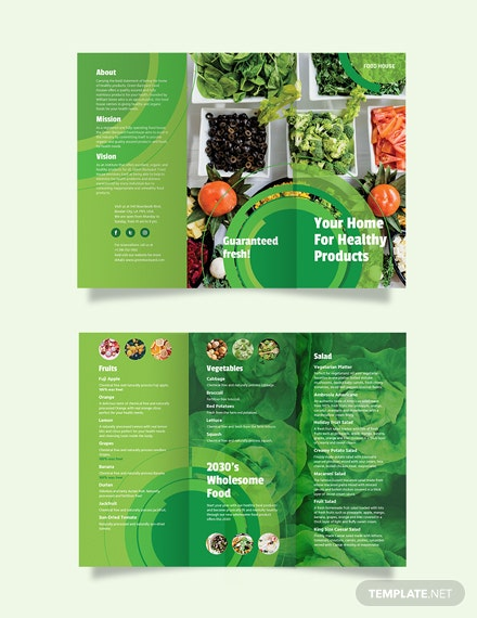 Healthy Food Tri-Fold Brochure Template