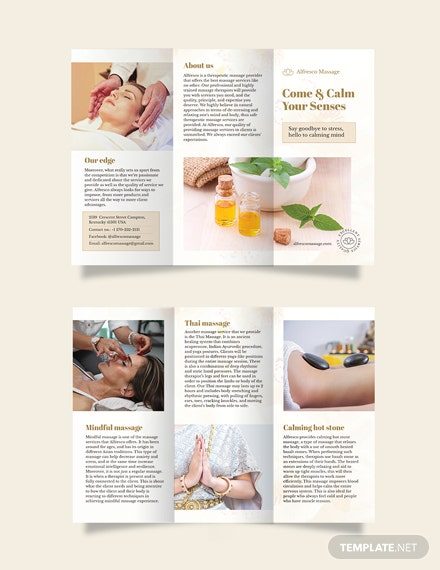 massage salon tri fold brochure