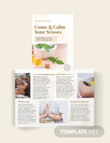 Massage Salon Bi-Fold Brochure Template