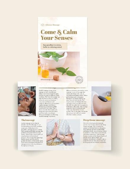 Massage Salon Bi-Fold Brochure Template
